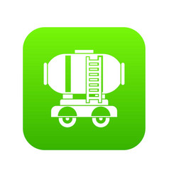waggon storage tank with oil icon digital green vector image
