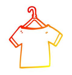 Warm gradient line drawing cartoon t shirt on vector