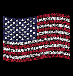 waving united states flag stylization of fist vector image