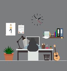 woman work office room interior workspace vector image