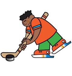 Boy playing hockey vector image vector image