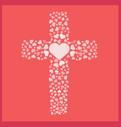 jesus true love cross heart love vector image
