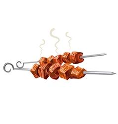 meat kebab grilled vector image