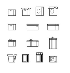 open and close boxes set made in line style vector image