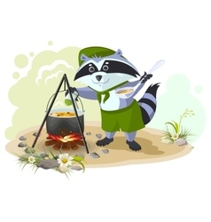 Scout raccoon cooking soup over campfire Summer vector image vector image
