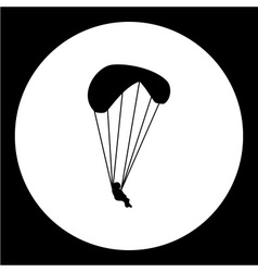 simple parachutist man isolated black icon eps10 vector image