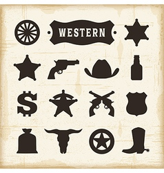Vintage Western Icons Set vector image