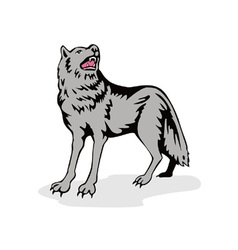 Wolf wild dog howling vector