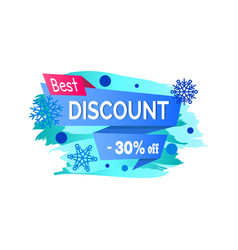 best discount -30 off winter sale label snowballs vector image