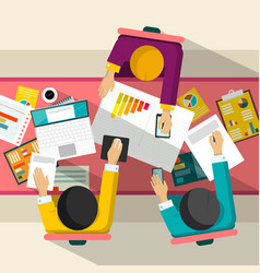 business meeting top view flat design businessmen vector image