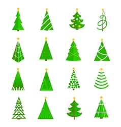 Christmas tree icons flat vector image vector image