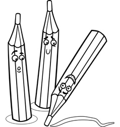 crayons cartoon coloring page vector image