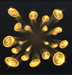 golden dollar coins explosion isolated vector image