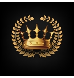 Golden Royal Crown with Laulel Wreath vector image