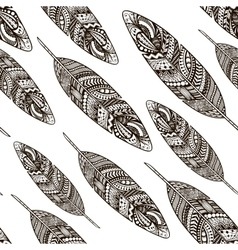 Hand drawn doodle feathers seamless pattern vector image