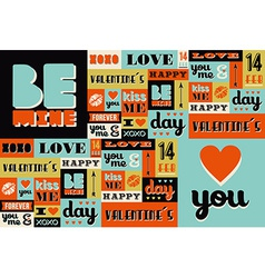 Happy Valentines Day retro vintage pattern vector image vector image