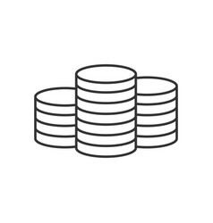pile of coins line icon vector image vector image