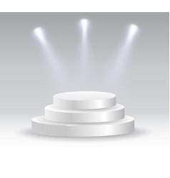 round podium illuminated by spotlights vector image