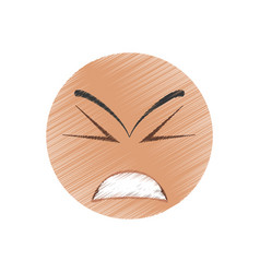 Drawing angry winking emoticon image vector
