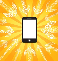 Media content goes to modern mobile phone vector image vector image
