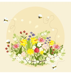 Spring Flowers Lovely Beautiful Bee Cartoon vector image