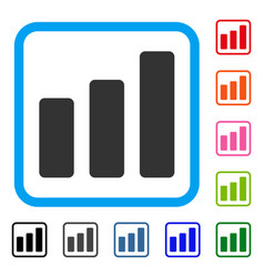 bar chart increase framed icon vector image vector image