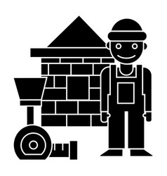builder - brick house - meter icon vector image