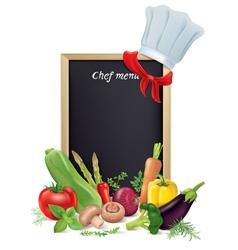 Chef menu board and vegetables vector image vector image