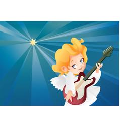 kid angel musician guitarist flying on a night sky vector image vector image