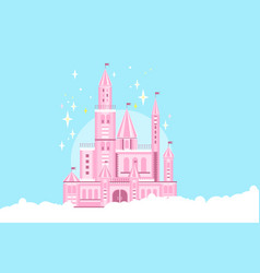 pink princess castle in white clouds fairy tale vector image