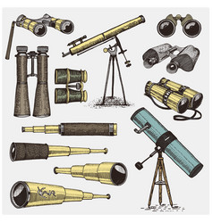 set of astronomical instruments telescopes vector image
