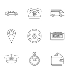 Taxi custom icons set outline style vector image vector image