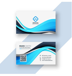 abstract blue wavy business card template vector image