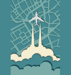 airplane in the clouds flying over the city vector image