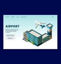 airport landing page departures arrivals info vector image