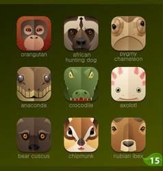 Animal faces for app icons-set 15 vector