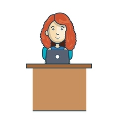 avatar woman working laptop vector image