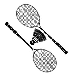 Badminton racket and shuttlecock black silhouettes vector