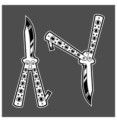 Balisong butterfly knife dagger duo vector image