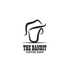 Bandit coffee logo design template vector