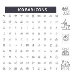bar editable line icons 100 set vector image