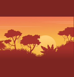 beauty landscape jungle at sunset silhouette vector image