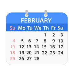 Block calendar on february 2018 on white stock vector