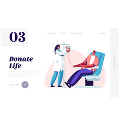 Blood donation website page character donate vector