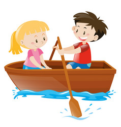 boy and girl in rowboat vector image
