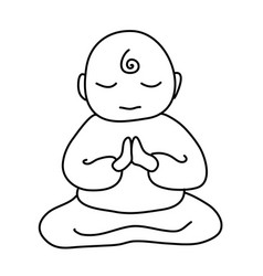 buddhist monk icon cartoon of vector image
