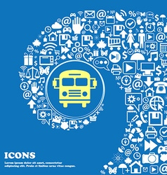 Bus icon Nice set of beautiful icons twisted vector image
