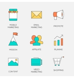 Business marketing color line icons vector