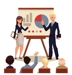 Businessman and businesswoman giving presentation vector image