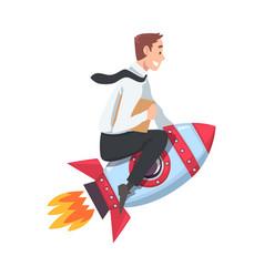 Businessman flying on space rocket startup vector